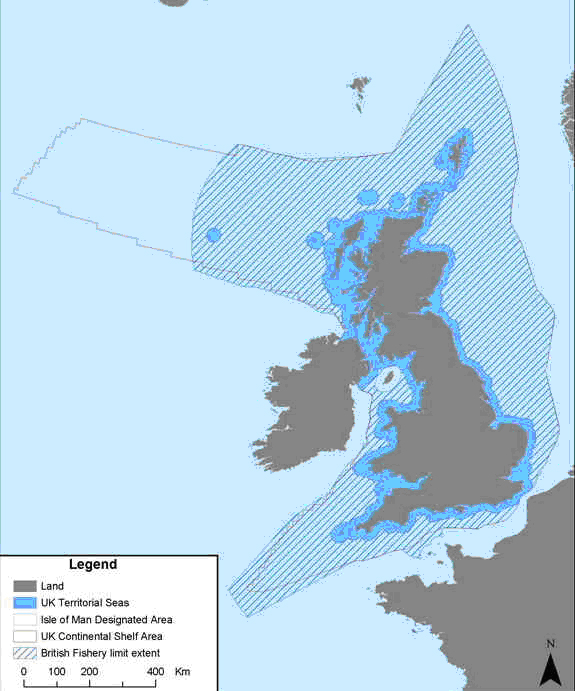 A practical example of the UK Sovereignty above it territorial sea and its airspace (respectively in light blue and grey color).