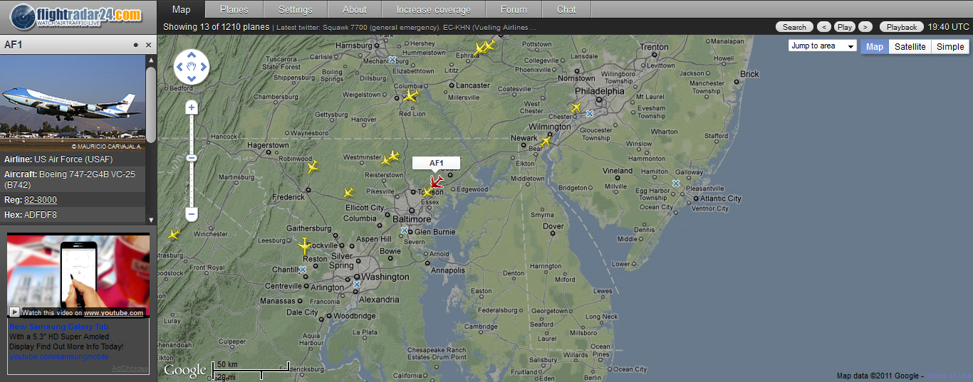 air force one flight tracking