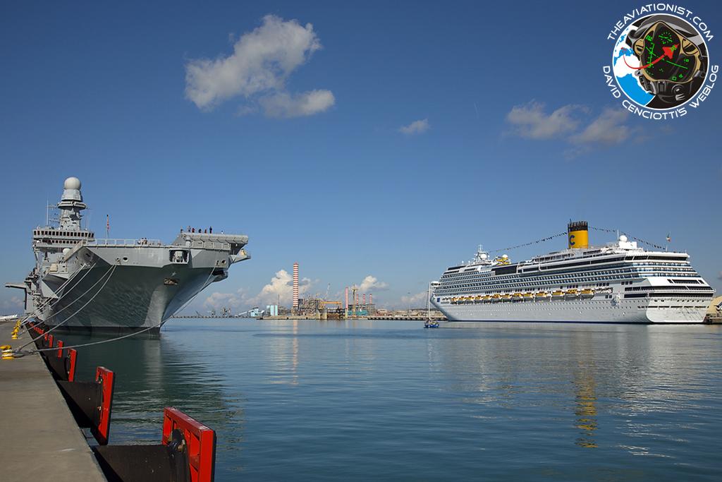 Photo Costa Concordia And Cavour Aircraft Carrier At Civitavecchia