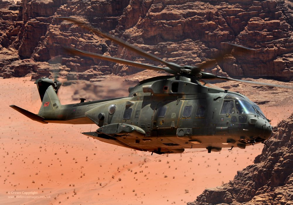 RAF Merlin helicopters on Exercise Pashtung Vortex in Jordan – The