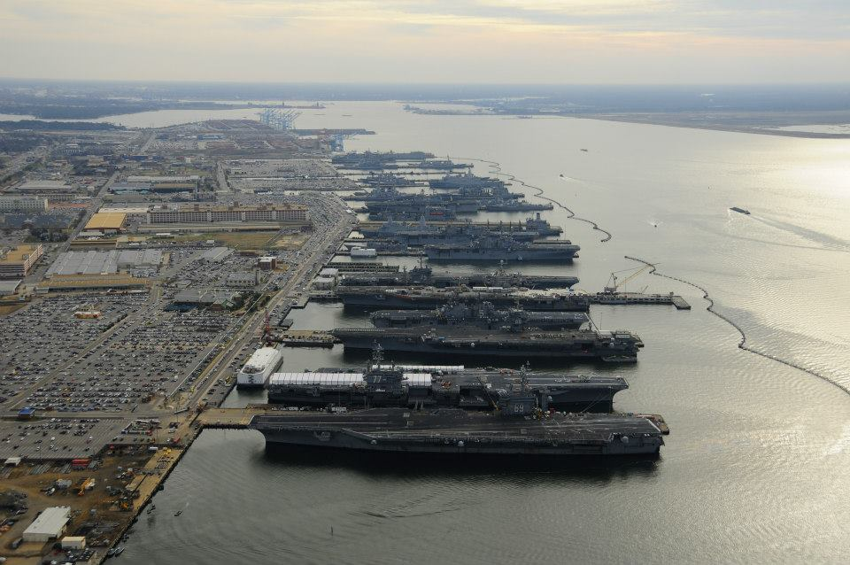 Aerial view of naval station norfolk shows the u s has not learned