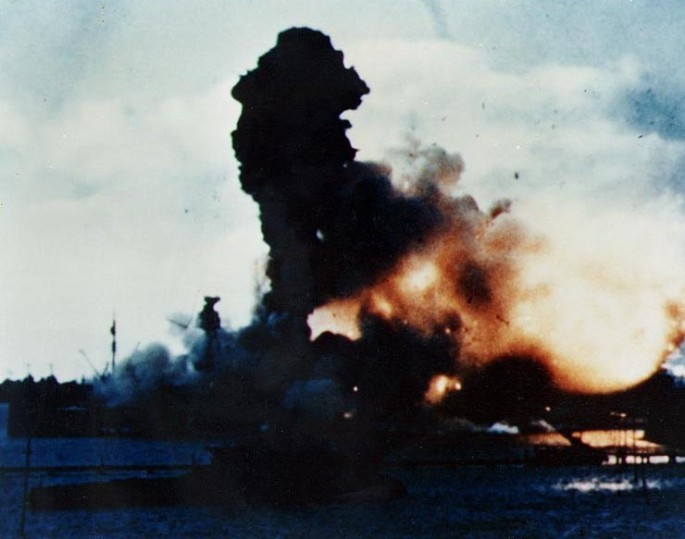 USS Arizona explodes