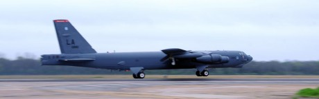 B-52H leaves to train