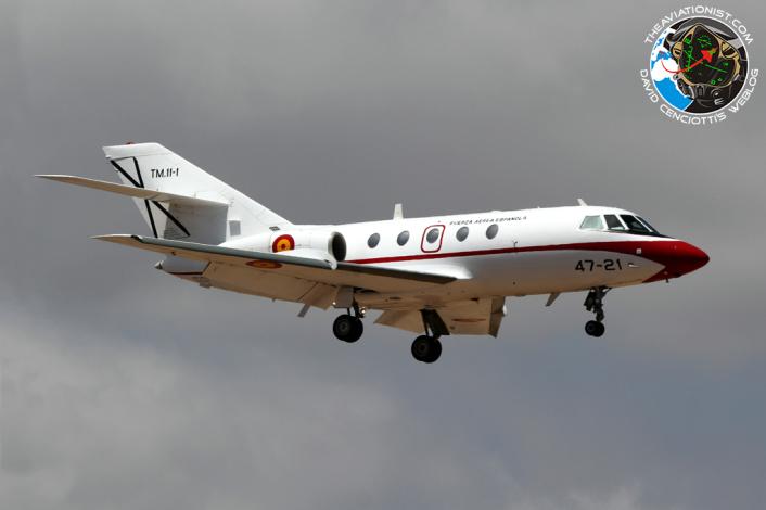 TM.11-1:47-21. Falcon 20E. 472 Esc. EDA. Seen here arr Gando in poor weather from Torrejon de Ardoz.10.09.2014