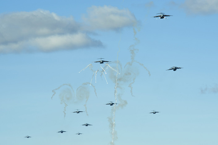 C-17s release flare over Keno