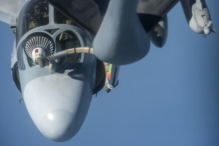 Close up cockpit AAR EA-6B