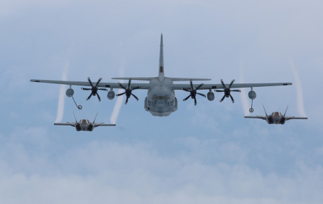 KC-130 performs mid-air refueling over Beaufort