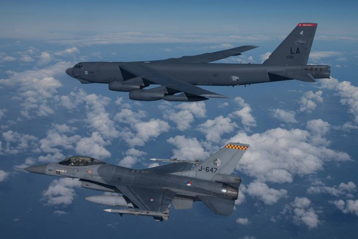 RNlAF F-16 intercept B-52 2