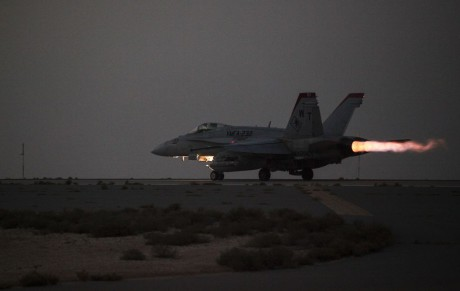 A U.S. Marine Corps F/A-18 Hornet from Marine Fighter Attack Squadron 232, Special Purpose Marine Air-Ground Task Force—Crisis Response—Central Command, launches for a strike mission in Southwest Asia, June 10, 2015. Pilots of VMFA-232 support Combined Joint Task Force – Operation Inherent Resolve with a combination of surveillance flights and kinetic strike missions, enabling Iraqi Security Forces in their fight against the Islamic State of Iraq and the Levant. (U.S. Marine Corps Photo by Cpl. Leah Agler)