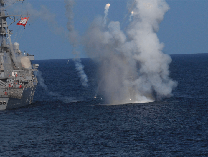 Missile exploding over USS The Sullivans 2