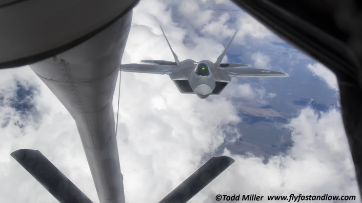 F-22A Tyndall AFB, 325 FW incoming.  In Flight Refueling from KC-135 by the 92 ARS Fairchild AFB during Red Flag 15-3.