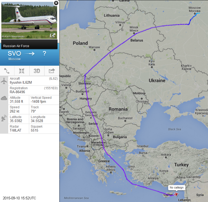 Russian Air Force Il-62 to Syria avoiding Bulgaria