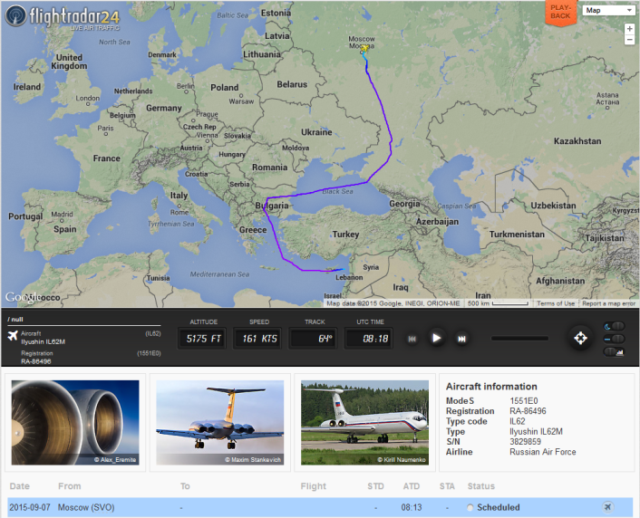Russian Air Force Il-62 to Syria via Bulgaria
