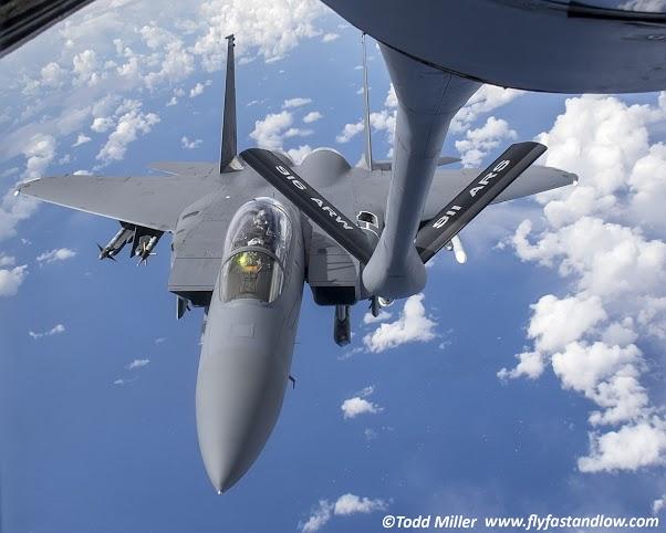 F-15E 4th FW 335 FS sliding up for fuel during Razor Talon
