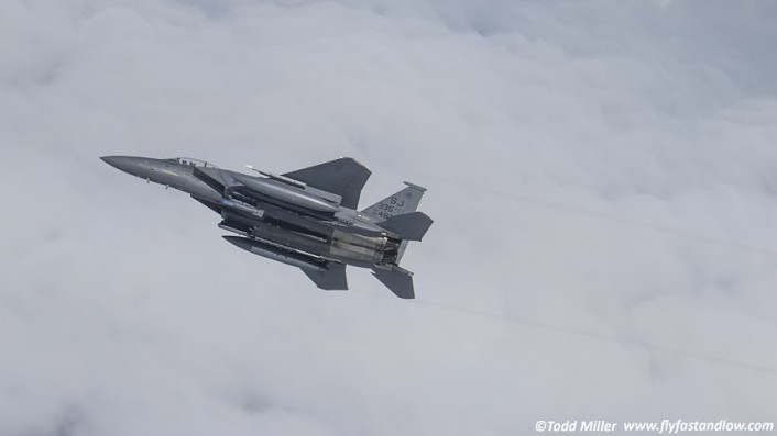 "F-15E 4th FW 335 FS ""Squadron Jet"" breaks away after taking on fuel during Razor Talon."