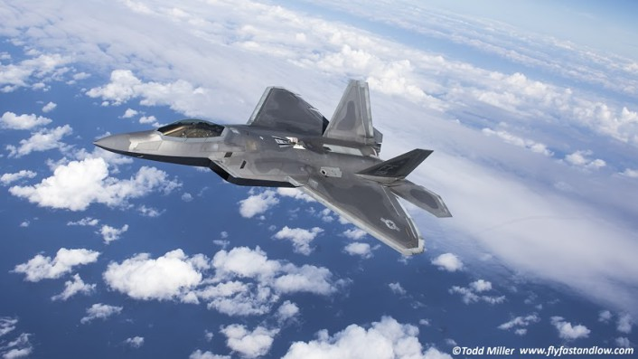 F-22A 1st FW, 94th FS Langley AFB joins on the tanker after taking on fuel during Razor Talon