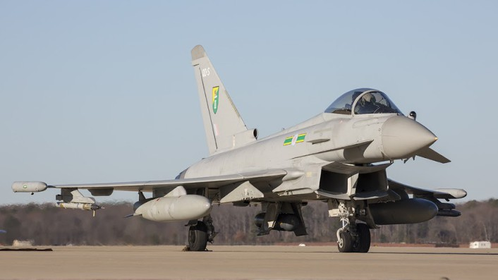 RAF 3 Sqn EU Typhoon FGR4 readies for launch during the TriLateral Exercise at JBLE.