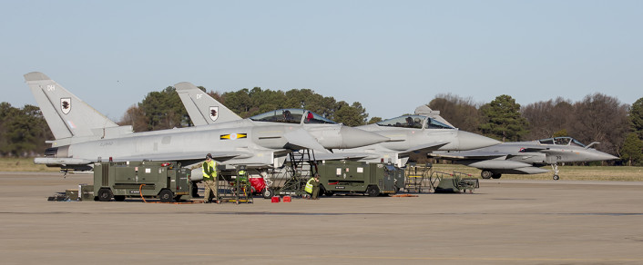 French Armee De L'Air Rafale C taxis to launch during the TriLateral Exercise at JBLE.