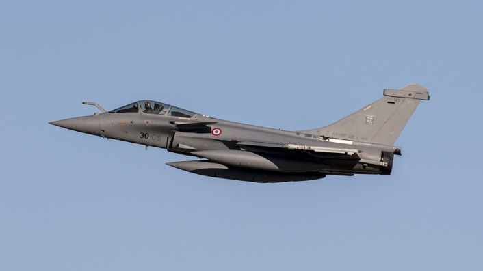 FrAF Dassualt Rafale launches from JBLE during the TriLateral Exercise.
