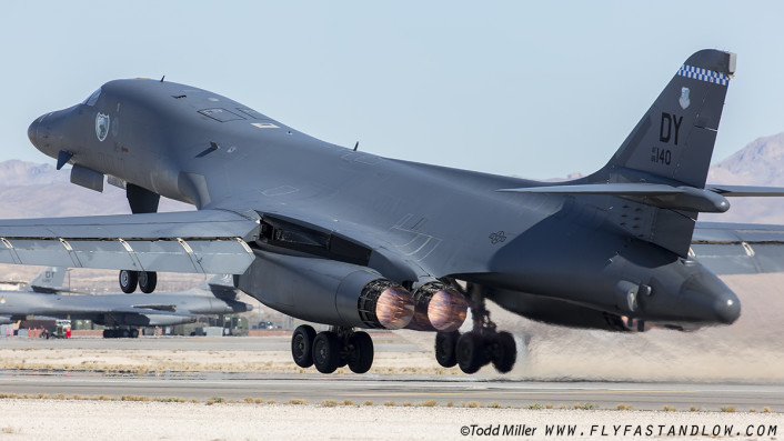 """B1-B """"Last Lancer"""" from the 7th BW, 9th BS """"Bats"""" out of Dyess AFB Texas launches on a Red Flag 16-1 sortie, Nellis AFB."""