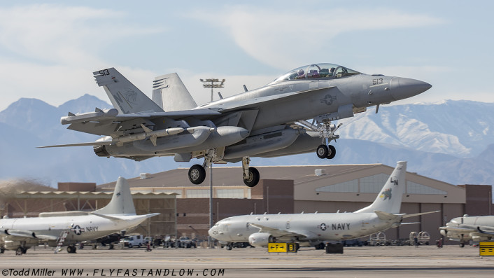 """EA-18G Growler of the VAQ-138 """"Yellow Jackets"""" of NAS Whidbey Island launches for Red Falg 16-1 sortie."""