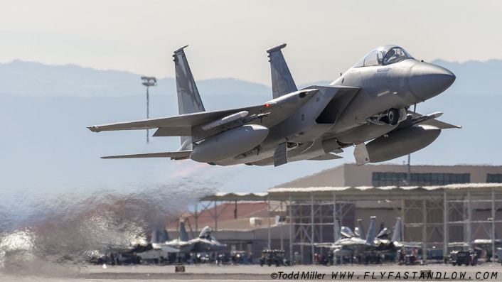 """F-15C of the California ANG 144th FW & 194th FS """"Griffins"""" based at Fresno ANGB launches from Nellis AFB during Red Flag 16-1."""
