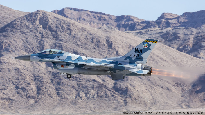 F-16C of the Nellis AFB based 64th Aggressor Sqd launches for Red Flag 16-1 sortie.