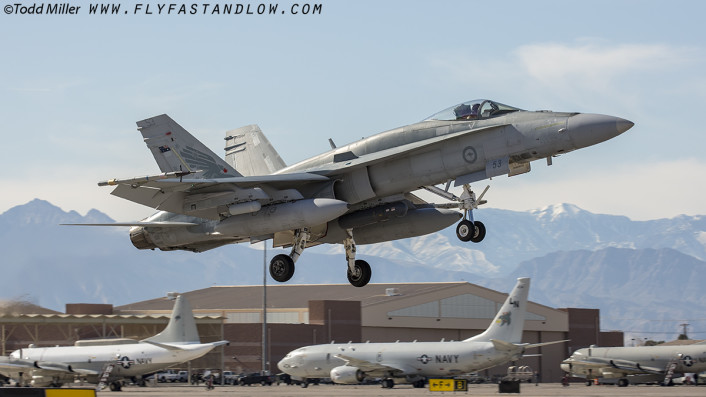F/A-18A of the RAAF 75 SQN, RAAF Base Tindal launches from Nellis AFB on Red Flag 16-1 sortie.