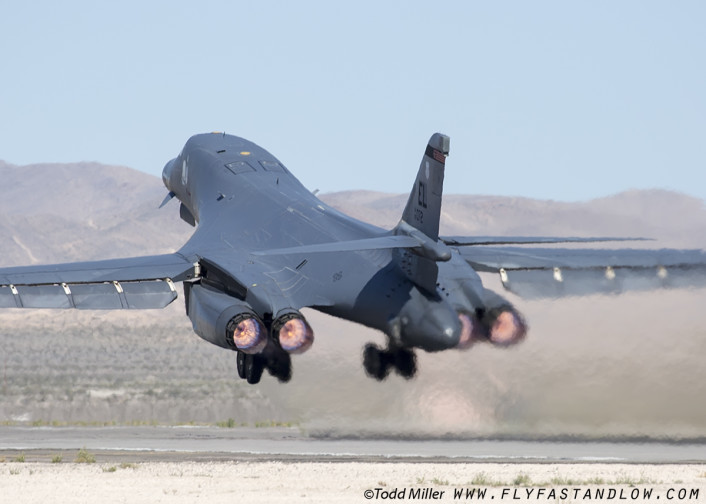 B-1B of the 28th BW, 34th BS of Ellsworth AFB, South Dakota from Nellis AFB for Red Flag 16-2 sortie.