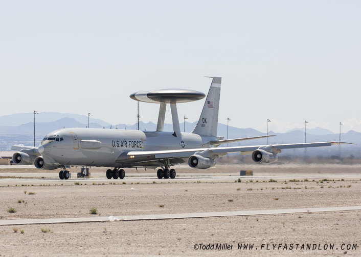 E-3 from the 552nd Air Control Wing, 963rd Airborne Air Control Squadron launches in support of Red Flag 16-2 sortie
