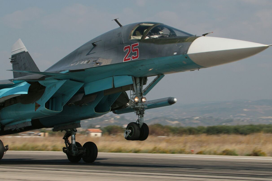 Watch Russian Air Force Su 34s drop bombs on a huge ice jam during unusual air strike in Russia