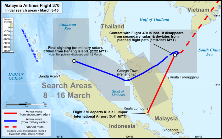 MH370 route with initial search (credit: Wiki)