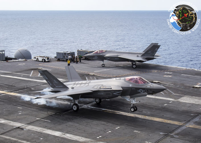 F-35C from VFA-101 Grim Reapers getting ready to snag a 3 wire on the USS George Washington (CVN-73) during DT-III with VX-23 August 15, 2016