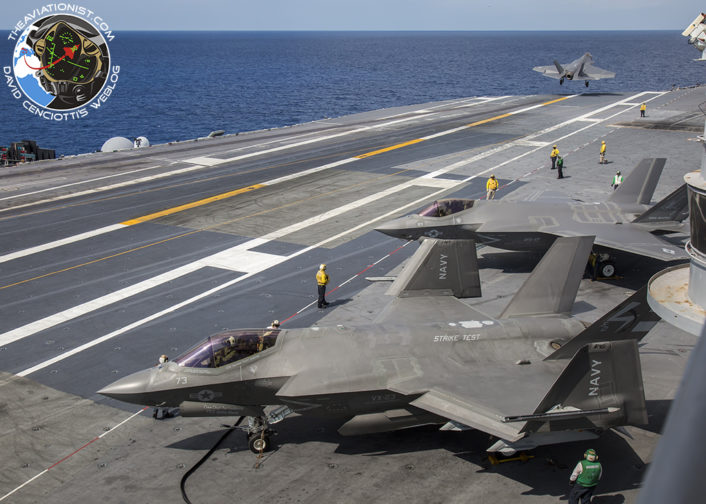 "F-35C from VFA-101 ""Grim Reapers"" performs a touch and go on the USS George Washington (CVN-73) during DT-III with VX-23 August 15, 2016 VX-23 ""Salty Dogs"" F-35C in foreground aside another VFA-101 F-35C."