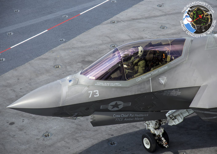 """F-35C from VX-23 """"Salty Dogs"""" waits to cross the deck for fueling. During DT-III on the USS George Washington (CVN-73) Monday, August 15."""