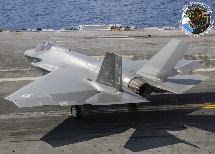 F-35C from VFA-101 Grim Reapers crosses the deck for fueling on the USS George Washington (CVN-73) during DT-III with VX-23 August 15, 2016