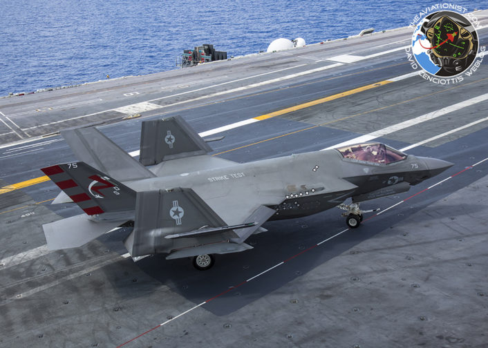 "F-35C from VX-23 ""Salty Dogs"" crosses the deck after fueling, on the way to the catapults. During DT-III on the USS George Washington (CVN-73) Monday, August 15."