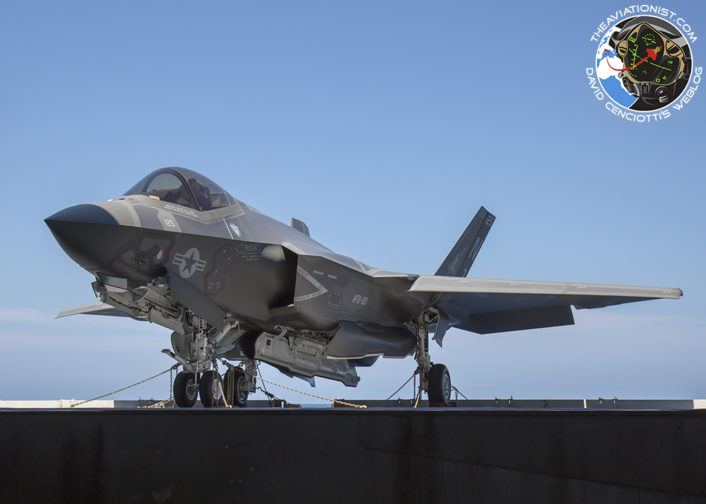 "F-35C from VFA-101 ""Grim Reapers"" dropping from deck and into the hangar for engine change. The aircraft is 100%, just an exercise to see if anything unusual crops up. On the USS George Washington (CVN-73) during DT-III with VX-23 August 15, 2016."
