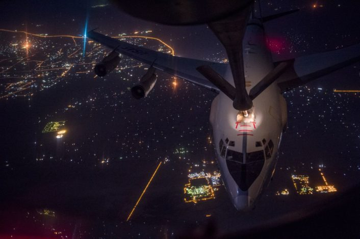 A U.S. Air Force E-3 Sentry receives fuel from a KC-135 Stratotanker during a refueling mission over Iraq in support of Operation Inherent Resolve September 16, 2016. The KC-135 provides the core aerial refueling capability for the U.S. Air Force and has excelled in this role for more than 50 years. (U.S. Air Force photo by Staff Sgt. Douglas Ellis/Released)