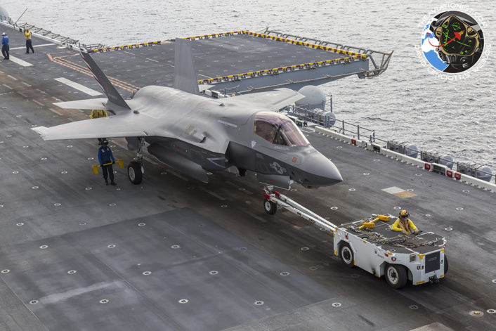"USMC F-35B of VMFA-211 (squadron jet) in transport on the USS America (LHA-6) during the integrated USN & USMC 'proof of concept"" demonstration November 19, 2016."