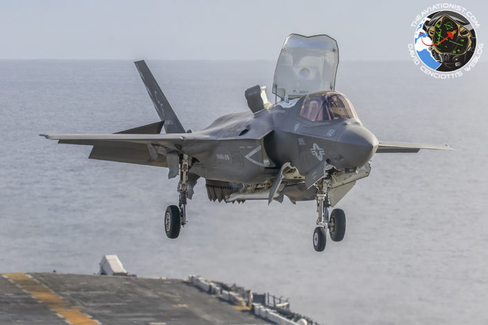 "F-35B of USMC VMFA-211 perfroms vertical landing on the USS America (LHA-6) during integrated USN/USMC ""proof of concept"" exercise November 19, 2016."