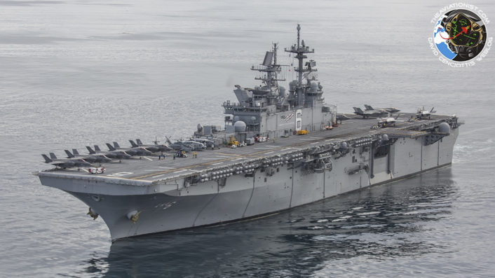 """The USS America (LHA-6) with 12 F-35Bs on board (2 in Hangar) during """"Proof of Concept"""" demonstration November 19, 2016.  Aircraft from VMFA-211, VX-23 and VMX-1 particpated with MV-22Bs and an AH-1Z & UH-1Y in a """"strike exercise"""" off the coast of CA."""