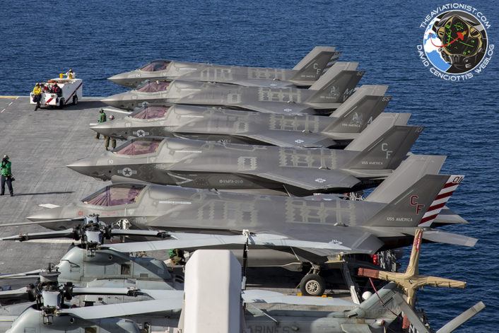 "F-35Bs stacked aboard the USS America (LHA-6) during ""Proof of Concept"" demonstration November 19, 2016. A total of 12 F-35Bs aboard."