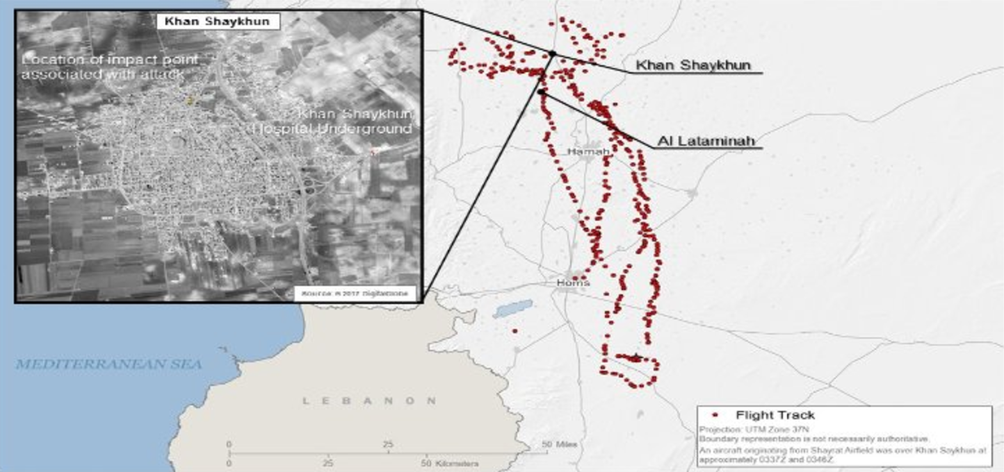 The Track Of The Syrian Aircraft That Carried Out The Cw Attack On Khan Shaykhn Dod Released