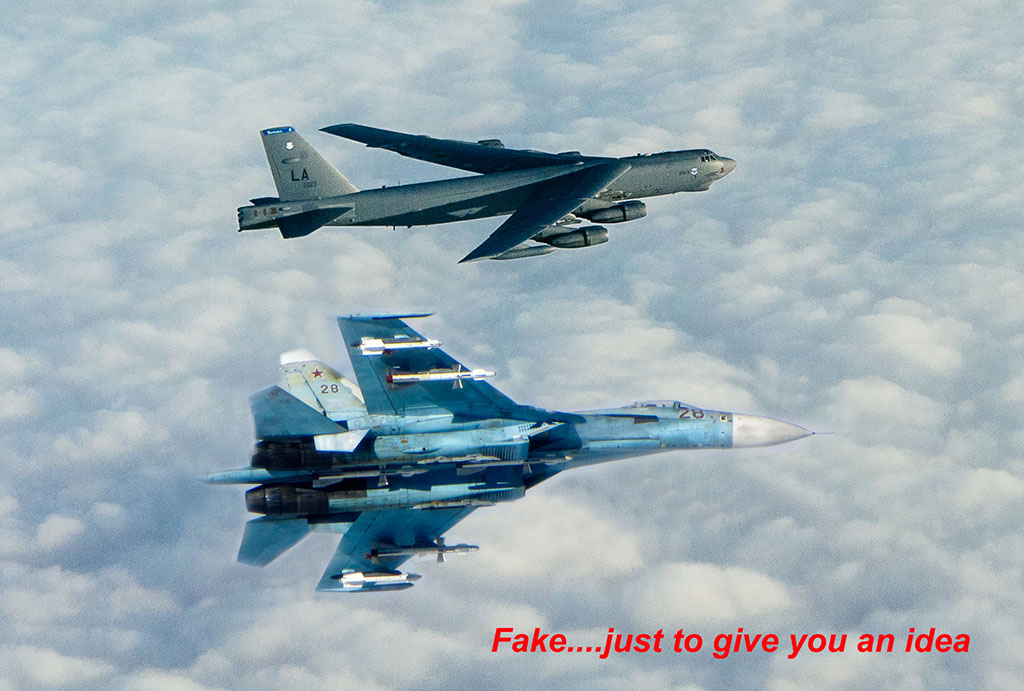 Russian fighter jet Su-27 intercepts US B-52 bomber over Baltic