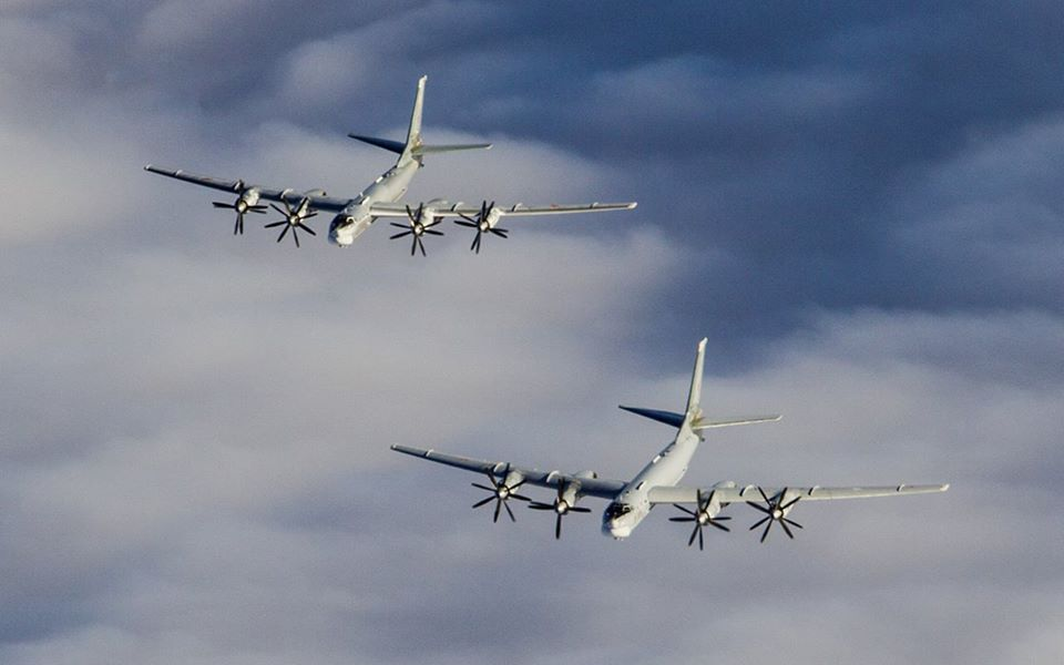 Russian Tu 95 Bear Bombers Escorted By Su 30sm Jets Carry Out Air