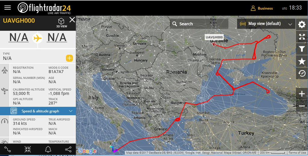 here is the route a u s rq 4 global hawk drone is currently flying during a surveillance mission over the black sea and ukraine