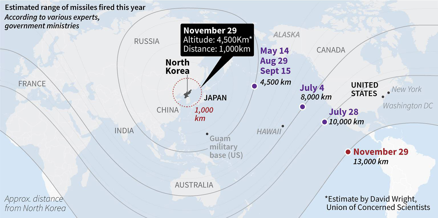 The Aviationist What Weve Learned About North Koreas New - Us icbm range map