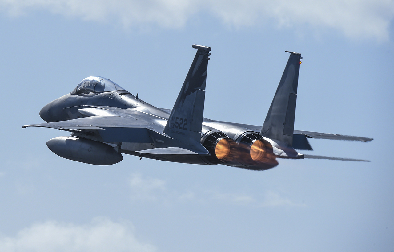 california ang s 144th fw launched 16 f 15 eagle jets in the wing s