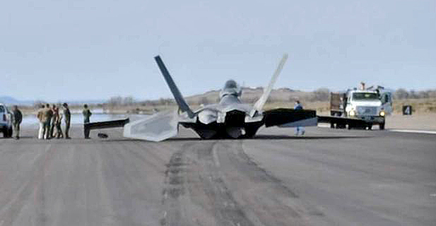F-22 Incident Alleged to be Engine Power Loss. Pilot Lands Gear-Up.